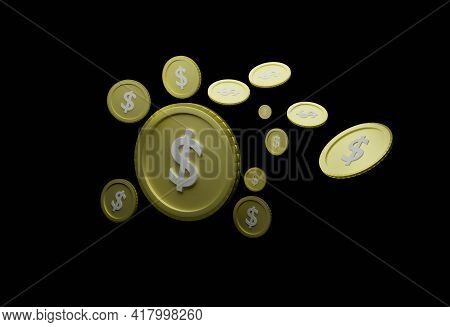 Abstract Floating Us Dollar Coin Black Background Isolated Concept Of Currency Analysis From Economi