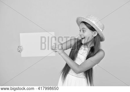 Bright Advertisement. Join Event. Summer Sales. Happy Little Girl Hold Poster Copy Space. Vacation T