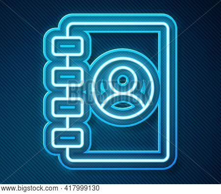 Glowing Neon Line Address Book Icon Isolated On Blue Background. Notebook, Address, Contact, Directo