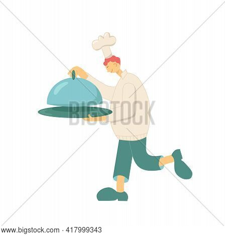 Cook Chef With Hat, Uniform From Professional Kitchen Restaurant. Funny Character Vector Stock Illus