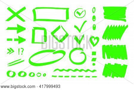 Marker Highlighter Stripe Background, Checkmark, Oval, Dot, Line, Dotted Line, Arrow, Rectangle. Cli