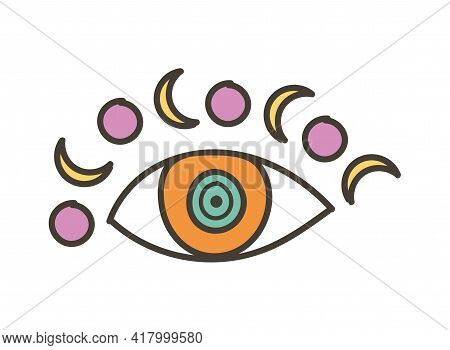 Colorful Eye Talisman With Moon As An Occultism And Prophecy Sacred Symbol. Eye Of Providence, Myste