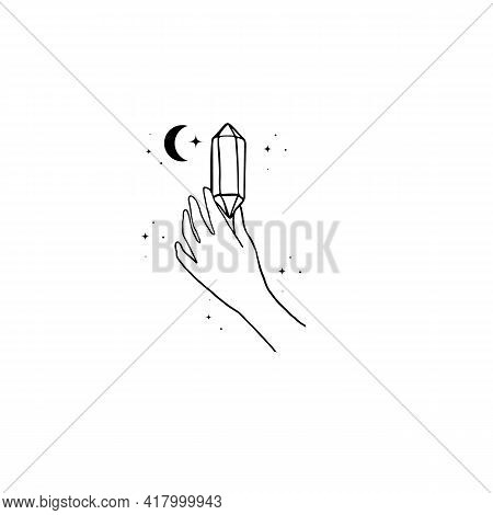 Logo Design Of Hands With Crystals. Modern Template In Trendy Linear Minimal Style. Vector Abstract