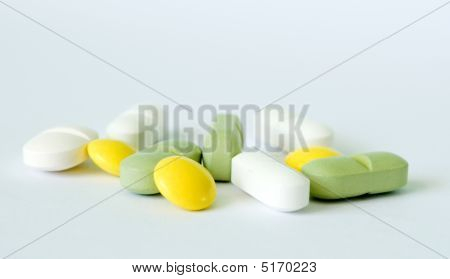 Yellow, Green And White Pills