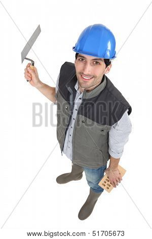 High-angle portrait of a bricklayer