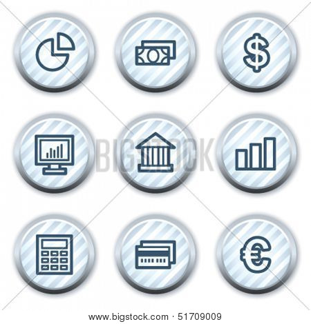 Finance web icons set 1, stripped light blue circle buttons