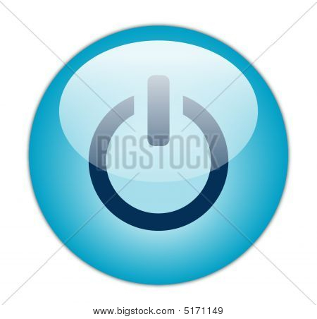 Glassy Blue Power Icon