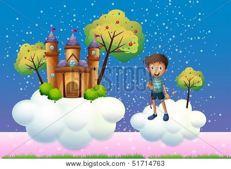 Illustration of a boy and a floating castle