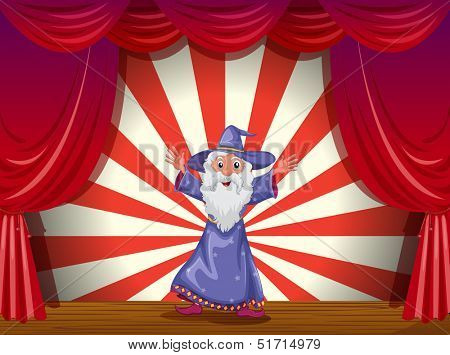 Illustration of a wizard in the middle of the stage with a red curtain