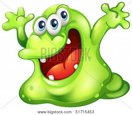 Illustration of a green slime monster on a white background