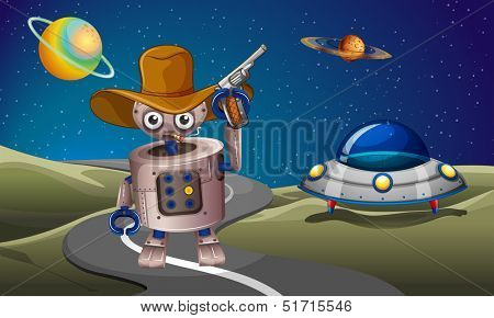 Illustration of a robot at the road with a spaceship in the outerspace poster