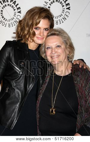 LOS ANGELES - SEP 30:  Stana Katic, Nancy Seltzer at the An Evening with Castle at Paley Center for Media on September 30, 2013 in Beverly Hills, CA