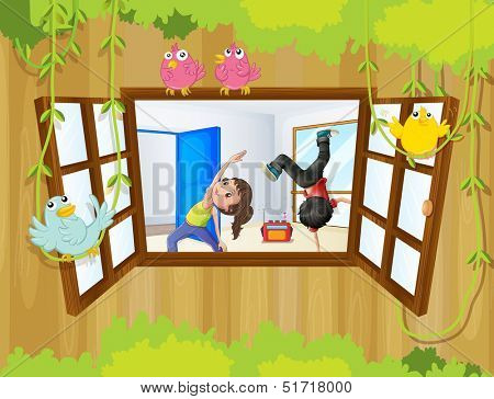 Ilustration of the kids rehearsing inside the studio
