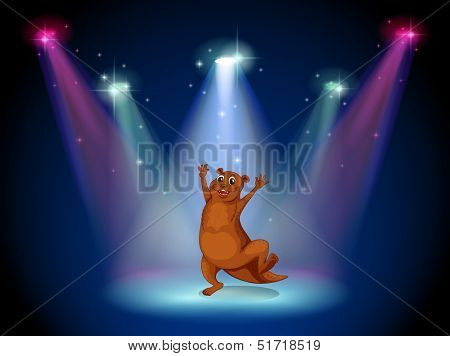 Illustration of a stage with a sealion dancing at the center