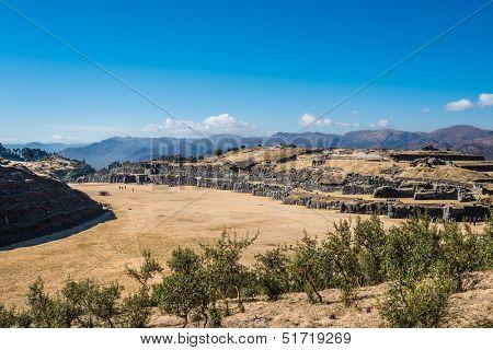 Sacsayhuaman, Incas ruins in the peruvian Andes at Cuzco Peru South America