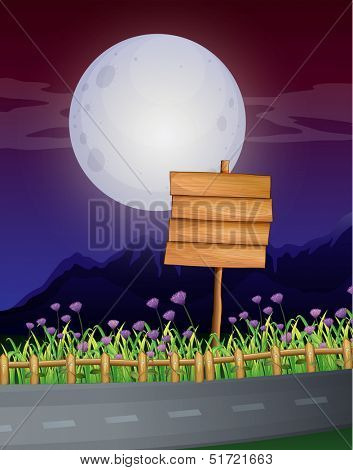 Illustration of an empty wooden signboard at the roadside