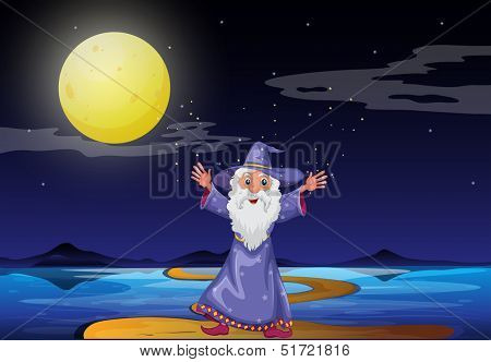 Illustration of a wizard under the bright fullmoon
