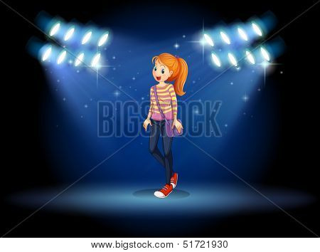 Illustration of a girl with a slingbag in the middle of the stage