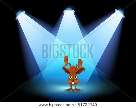 Illustration of a bunny performing on a stage under the spotlights