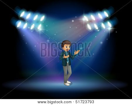 Illustration of a teenager in the middle of the stage