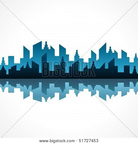 Illustration of abstract blue building design