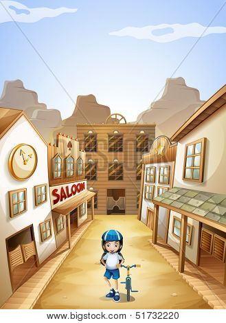 Illustration of a girl in the town