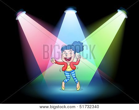 Illustration of a girl dancing in the middle of the stage