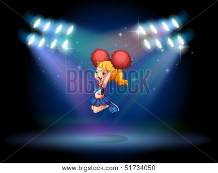 Illustration of a cheerleader jumping in the middle of the stage