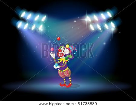 Illustration of a clown juggling balls in the stage