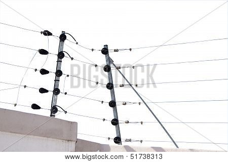 Isolated Electric Fence Installaton On Boundary Wall