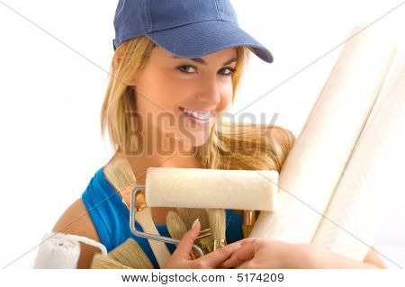young blonde girl with painting tools and papper poster