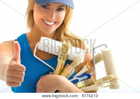 Young Girl And Painting Tools