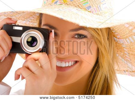 Young Blond With Camera