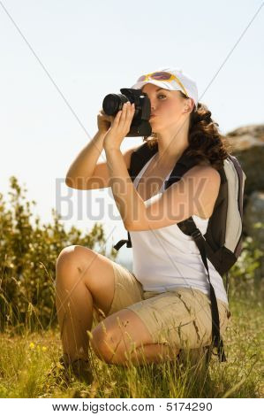 Woman Photographer In The Montain