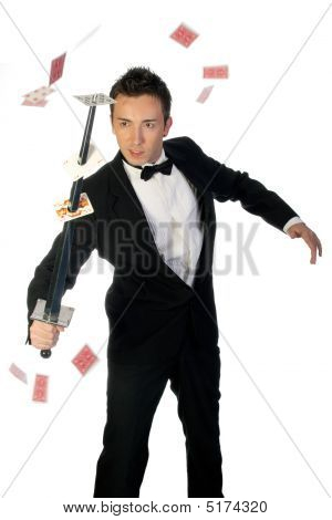Magician With Sword And Cards