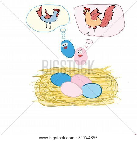 "A thinking of eggs about ""when we grow up we will going to be"" poster"