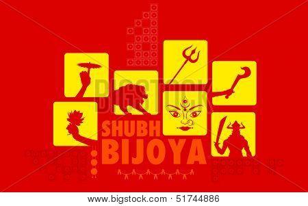 illustration of Subho Bijoya (Happy Dussehra) Holiday background poster
