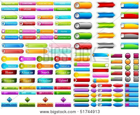 illustration of collection of colorful web button
