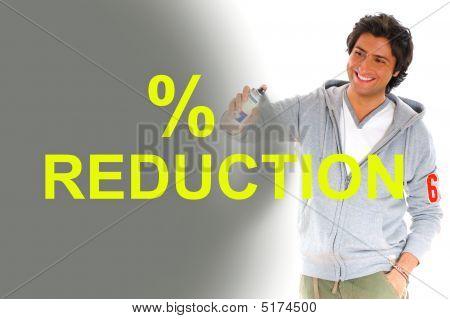 Man  Writing Reduction Prices