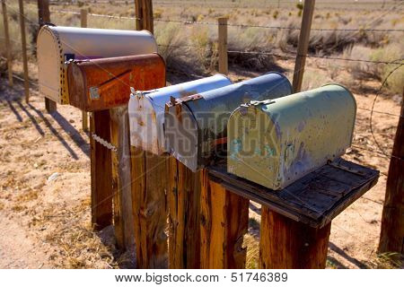 Mailboxes mail box aged vintage in west California desert