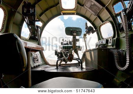 Boeing B-17 Bomber.  Inside View Of Nose Canopy And Forward Gun Turret.