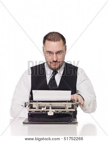 Man and a vintage typewriter