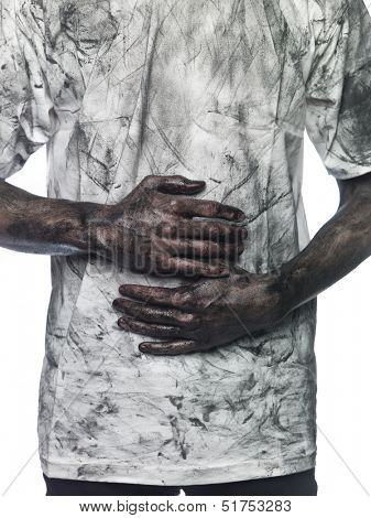 Dirty hands in front of a dirty shirt poster