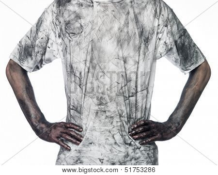 Man with a dirty shirt towards white background