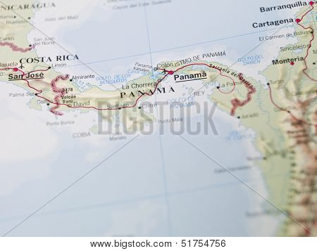 Map of Panama in central America
