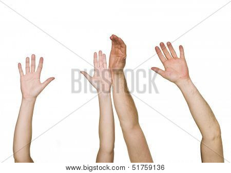 Raised Hands isolated on white background