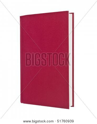 Blank red book isolated on white background