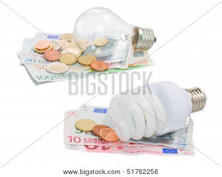 energy saving and normal   bulbs on euro