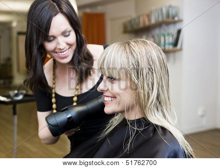 Blond woman at the Hair Salon