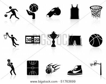isolated Basketball Icons set on white background poster